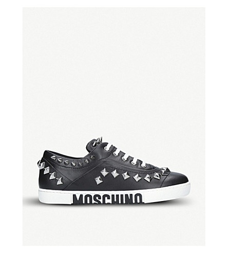 MOSCHINO Logo-print studded leather trainers (Black