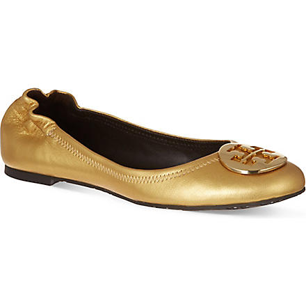 TORY BURCH Reva metallic leather pumps (Gold