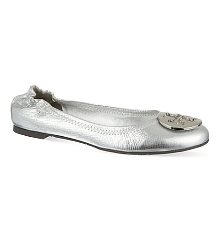 TORY BURCH Reva metallic pumps (Silver