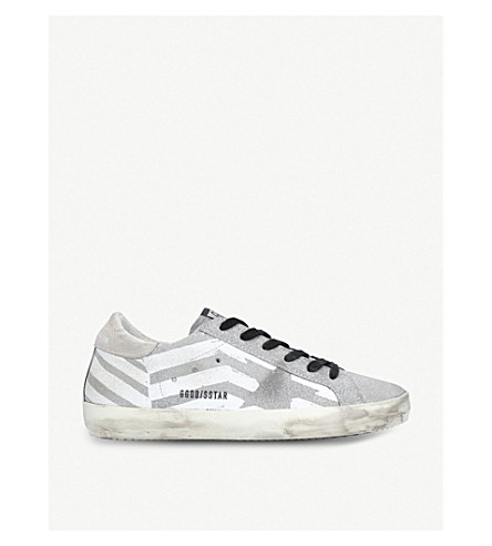 GOLDEN GOOSE Superstar glitter leather trainers (White/oth