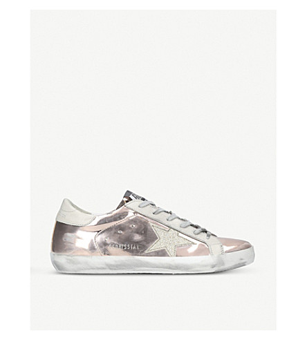 GOLDEN GOOSE Superstar leather trainers (Pink+comb