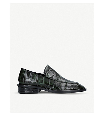 DRIES VAN NOTEN 厚实的皮革乐福鞋 (暗 + 绿色