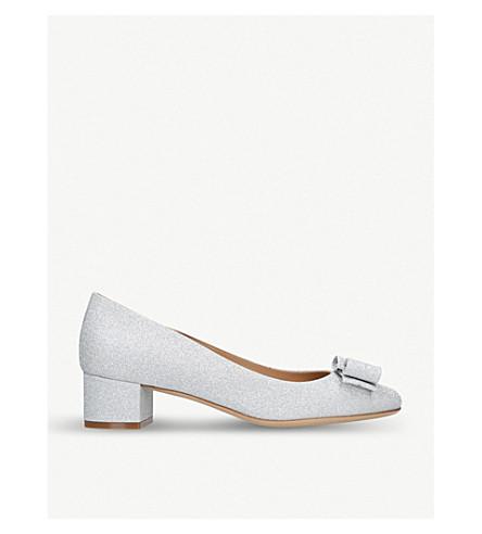 SALVATORE FERRAGAMO Vara glitter heeled courts (Silver