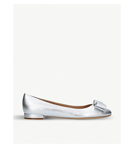 SALVATORE FERRAGAMO Varina metallic leather ballet flats (Silver