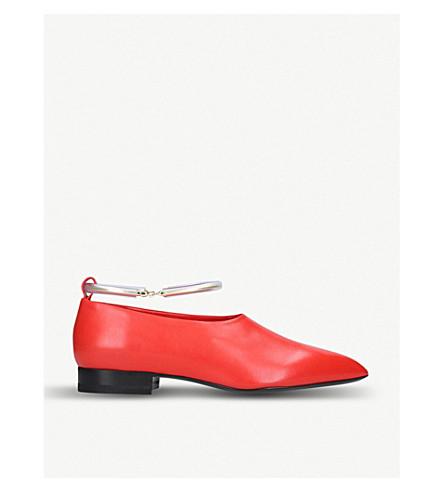 JIL SANDER 脚踝手镯皮革芭蕾舞平底鞋 (红色