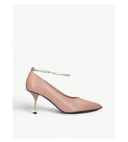 JIL SANDER Ankle bracelet heeled leather courts (Nude