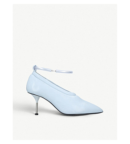 JIL SANDER Nappa ankle-bracelet leather courts (Pale blue