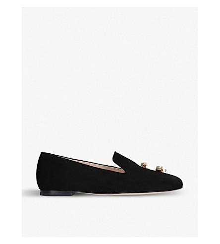 STUART WEITZMAN Node suede loafers (Black
