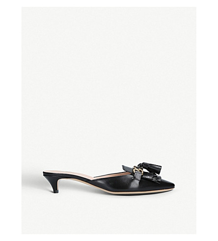 TODS Fringed backless leather mules (Black