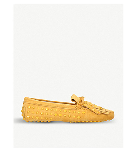 TODS Stud and tassel-embellished suede loafers (Other