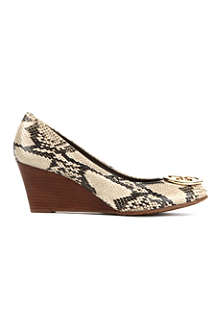 TORY BURCH Sally mock-snake leather wedge courts