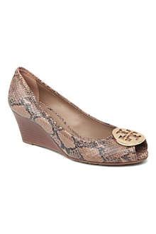 TORY BURCH Sally mock-snake wedge courts