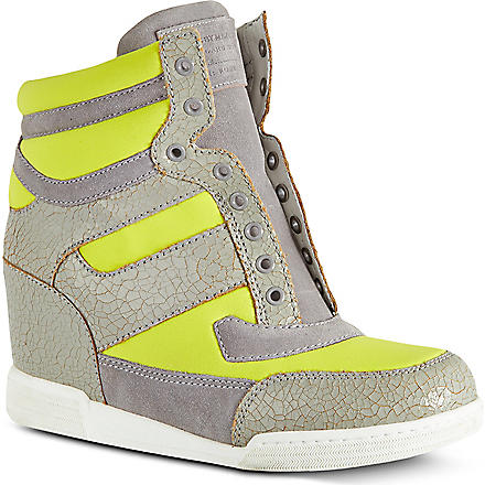 MARC BY MARC JACOBS Cracked leather wedge high tops (Yellow