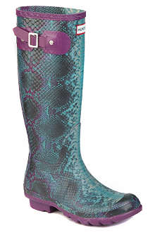 HUNTER Carnaby snake-print wellies