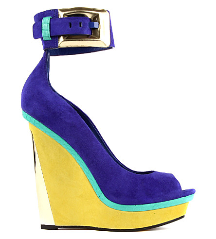 B BY BRIAN ATWOOD Alouette leather peep toe platform wedges