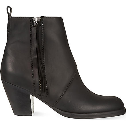 ACNE Pistol Short leather ankle boots (Black
