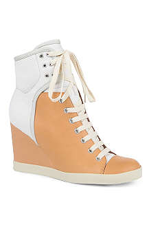 SEE BY CHLOE Peter leather wedge trainers