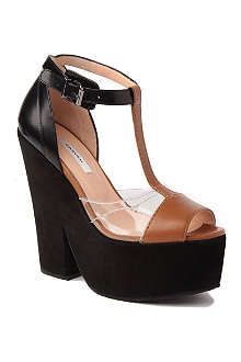 CARVEN Suede and leather wedge sandals