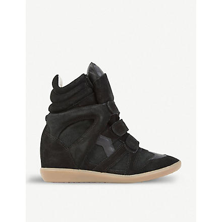 ISABEL MARANT Bekett suede and leather wedge trainers (Black