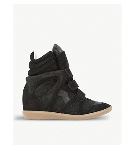 ISABEL MARANT Bekett suede and leather wedge sneakers (Black