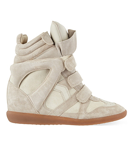ISABEL MARANT Bekett suede wedge high-top trainers (Nude