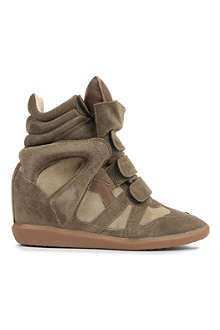ISABEL MARANT Bekket suede and leather wedge trainers