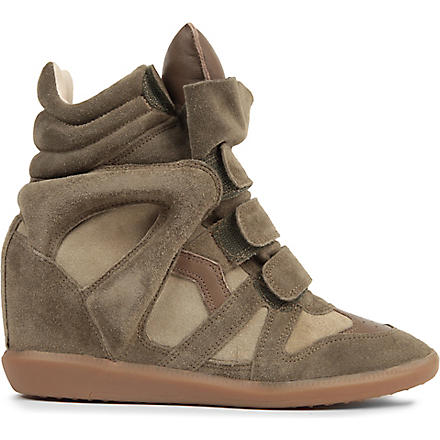 ISABEL MARANT Bekett suede and leather wedge trainers (Taupe