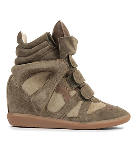 ISABEL MARANT ETOILE Bekett suede and leather wedge trainers (Taupe