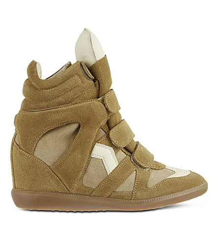 ISABEL MARANT Bekett wedge sneakers (Camel