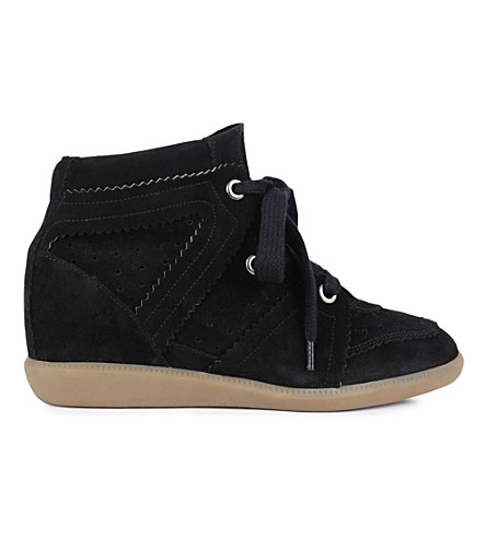 ISABEL MARANT Bobby suede wedge trainers (Black