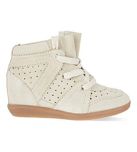 ISABEL MARANT ETOILE Bobby suede wedge trainers (White