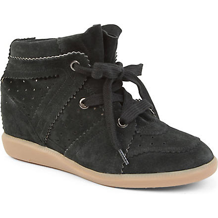 ISABEL MARANT Bobby suede wedge trainers (Grey/dark