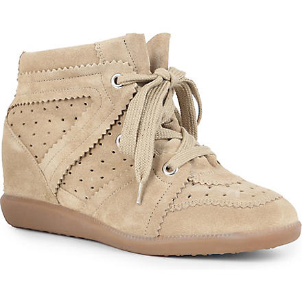ISABEL MARANT Bobby suede wedge trainers (Beige
