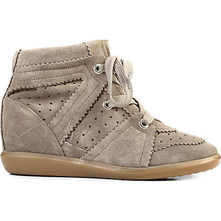 ISABEL MARANT Bobby suede wedge trainers (Taupe