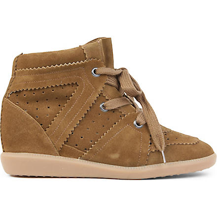 ISABEL MARANT Bobby suede wedge trainers (Camel
