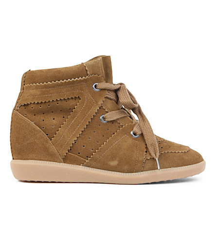 ISABEL MARANT ETOILE Bobby suede wedge trainers (Camel