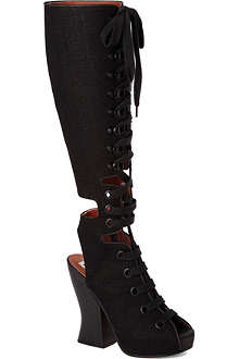 ACNE Asia canvas knee-high boots