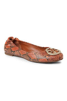 TORY BURCH Reva snake print leather pumps