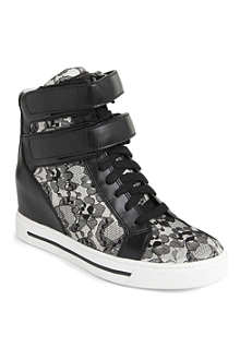MARC BY MARC JACOBS Leather and lace wedge trainers