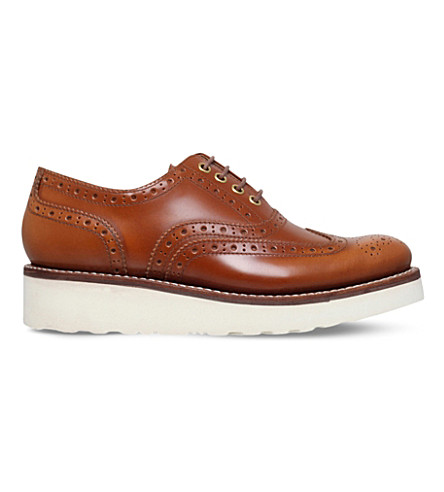 GRENSON Emily leather flatform brogues (Mid+brown
