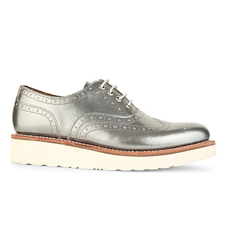 GRENSON Emily flatform brogues (Silver