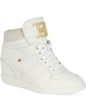 MICHAEL MICHAEL KORS Leather wedge heeled high-top trainers
