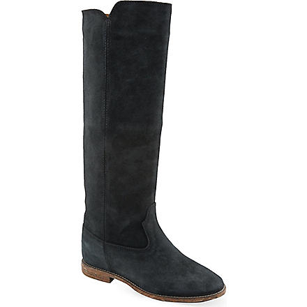 ISABEL MARANT Cleave knee-high concealed wedge leather boots (Blue