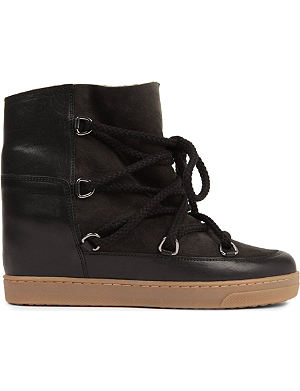 ISABEL MARANT Nowles suede and leather shearling lined ankle boots