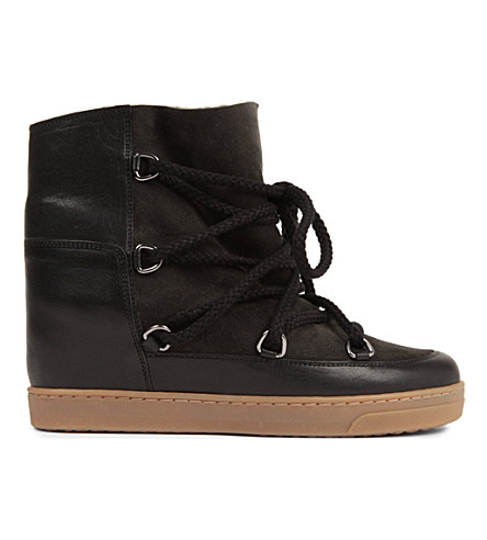 ISABEL MARANT Nowles suede and leather shearling lined ankle boots (Black