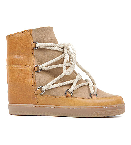 ISABEL MARANT ETOILE Nowles suede and leather shearling lined ankle boots (Camel