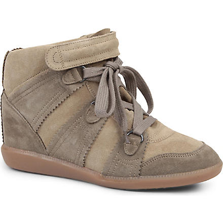 ISABEL MARANT Bluebel suede wedge trainers (Taupe