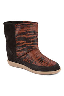 ISABEL MARANT Norwood ponyskin and suede ankle boots