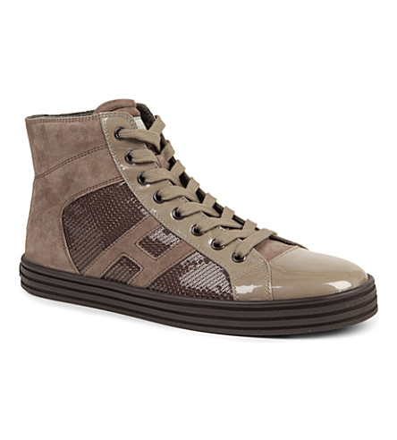 HOGAN REBEL Sequinned high tops (Taupe