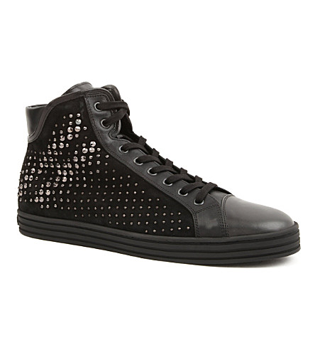 HOGAN REBEL Studded high-top trainers (Black